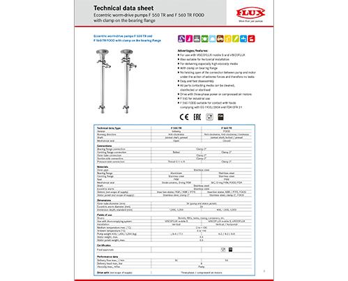 FLUX Technical data sheets - FLUX Pumps