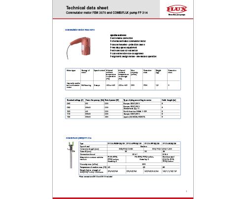 flux technical data sheets flux pumps